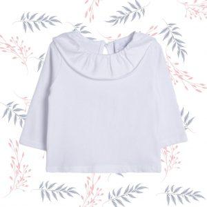 Blusa blanca cuello volante niña
